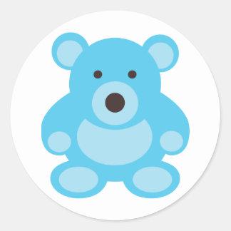 Light Blue Teddy Bear Round Sticker