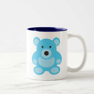 Light Blue Teddy Bear Two-Tone Coffee Mug