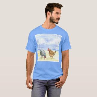 Light Blue Travel Chickens Watercolor Rare T-Shirt