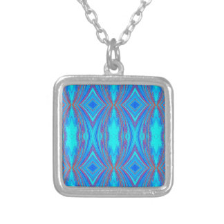 Light Blue Turquoise Diamonds Pattern Silver Plated Necklace