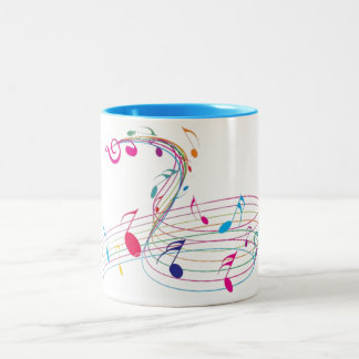 Light Blue Two-Toned Mug w/Colorful Music Notes