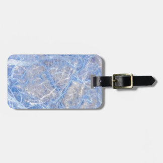 Light Blue Veined Grey Marble Luggage Tag