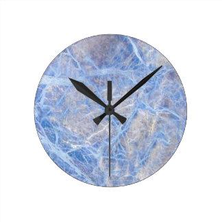 Light Blue Veined Grey Marble Round Clock