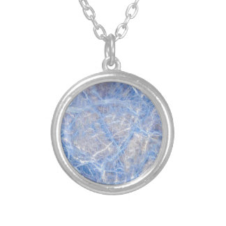 Light Blue Veined Grey Marble Silver Plated Necklace