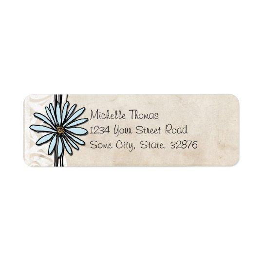 Light Blue Vintage Daisy Wedding Address Return Address Label