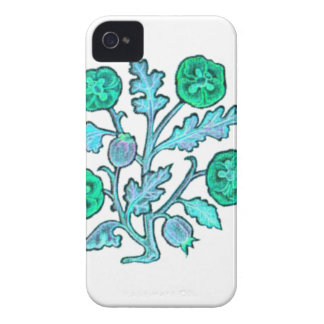 Light Blue Vintage Embroidery Style Flowers iPhone 4 Cover