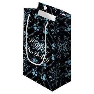 Light Blue w/Black Kaleidoscope Pattern #1 Small Gift Bag