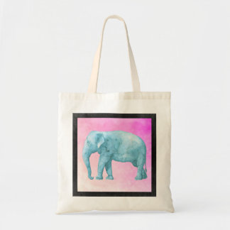 Light Blue Watercolor Elephant on Pink Background