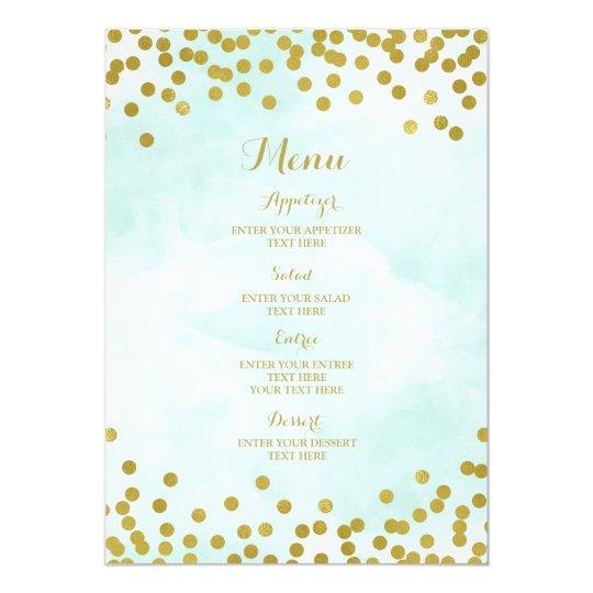 Light Blue Watercolor Gold Confetti Wedding Menu Card