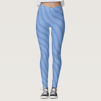 Light Blue Wavy Lines Leggings