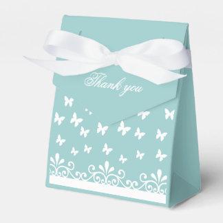 Light blue White butterflies Wedding Thank you Favor Box