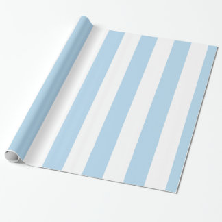 Light Blue White Extra Large Stripe Pattern Wrapping Paper
