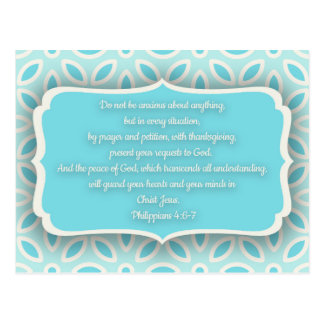 Light Blue White Floral Bible Verse Encouragement Postcard