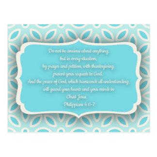 Light Blue White Floral Bible Verse Encouragement Postcard