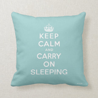 Light Blue White Keep Calm and Carry On Sleeping Throw Pillow