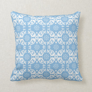 Light Blue White Lace Flower Throw Pillow