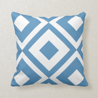 Light Blue & White Modern Geometric Diamond Pillow