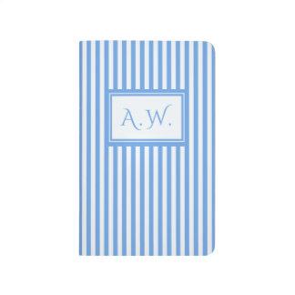 Light Blue & White Sailor Stripes Monogram Journal