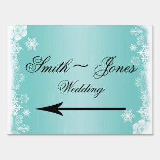 Light Blue White Snowflake Wedding Direction Sign