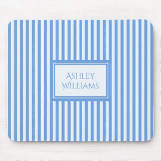 Light Blue & White Stripes Custom Name Mousepad