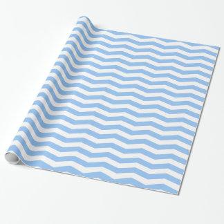 Light Blue & White Zig Zag Chevron Striped Wrapping Paper