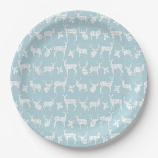 Light Blue With White Deer Paper Plates 9 Inch Paper Plate