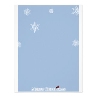 Light Blue with White Snowflakes and Red Cardinal Letterhead