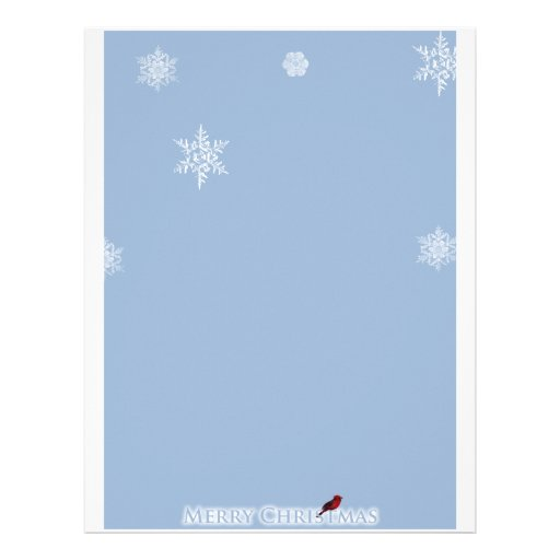 Light Blue with White Snowflakes with Red Cardinal Custom Letterhead