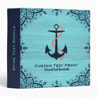 Light Blue Wood & Blue Nautical Boat Anchor 3 Ring Binder