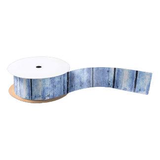 Light Blue Wood Planked Ribbon Satin Ribbon