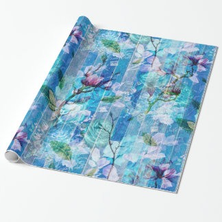 Light Blue Wood With White & Pink Floral Collage Wrapping Paper