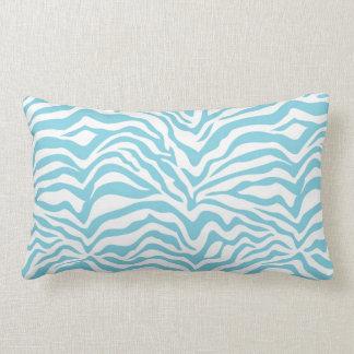 Light Blue Zebra Print Lumbar Pillow