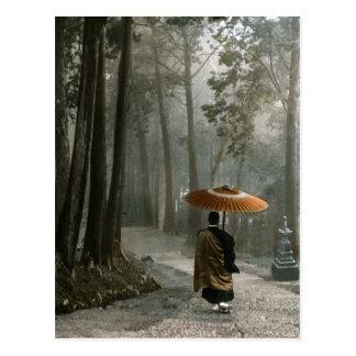 Light Breaks Through as Monk Descends Temple Steps Postcard