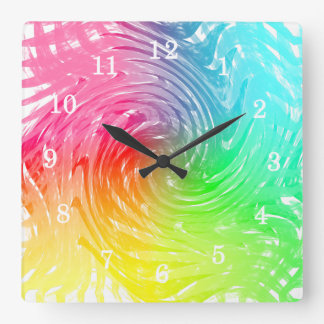Light Bright Rainbow Abstract Swirly Patterned Square Wall Clock