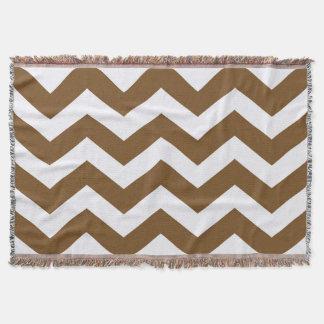 Light Brown And White Chevron City Zigzag Stripes Throw Blanket