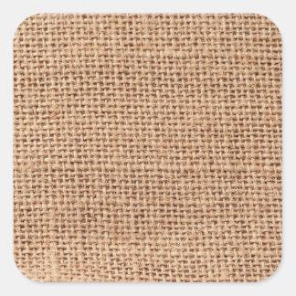 Light Brown Burlap Sack Background Square Sticker