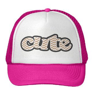 Light Brown Chevron Stripes Mesh Hat