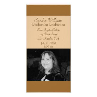 light brown graduation picture card