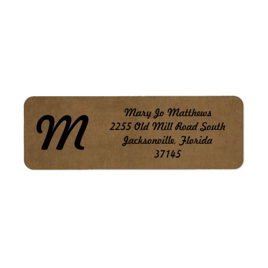 Light brown leather texture return address label