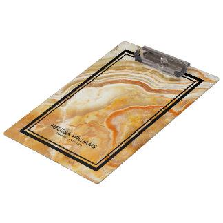 Light Brown Marble Stone Texture Black Border Clipboard