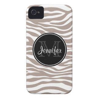 Light Brown Zebra Print Trendy monogram iPhone4/4s iPhone 4 Case
