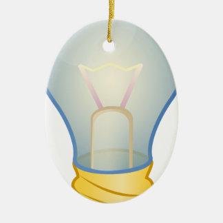 Light bulb ceramic oval ornament