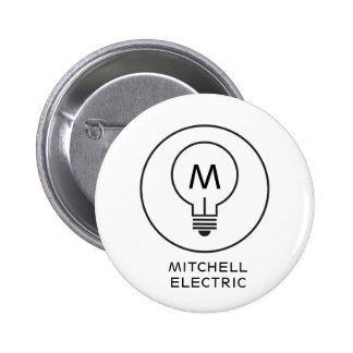 LIGHT BULB MONOGRAM LOGO on WHITE for ELECTRICANS 2 Inch Round Button