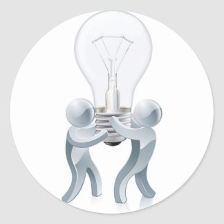 Light bulb people concept classic round sticker