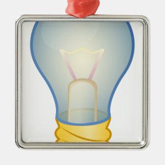 Light bulb Silver-Colored square ornament