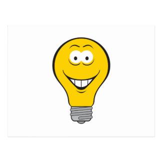 Light Bulb Smiley Face Postcard