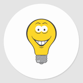 Light Bulb Smiley Face Round Sticker