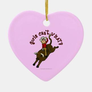 Light Bull Rider Ceramic Heart Ornament