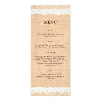 "Light Burlap & Vintage Lace Menu 4"" X 9.25"" Invitation Card"