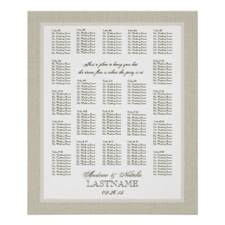 Light Burlap Wedding Seating Chart